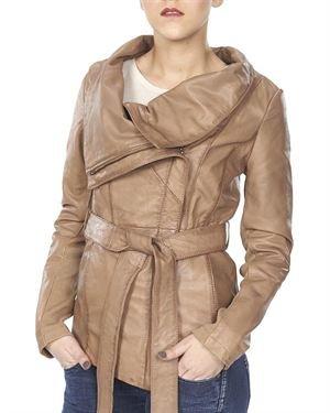 Public School Solid Color Collared Lambskin Women's Jacket