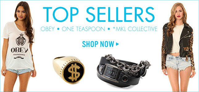 Top Sellers: Obey, One Teaspoon, *MKL Collective