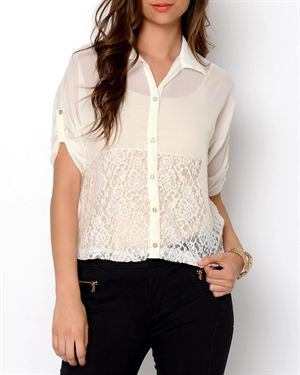 Tea N Rose Lace Button-Up Blouse- Made In USA