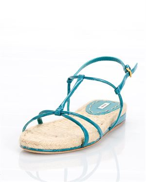 Miu Miu Leather Raffia Sandal