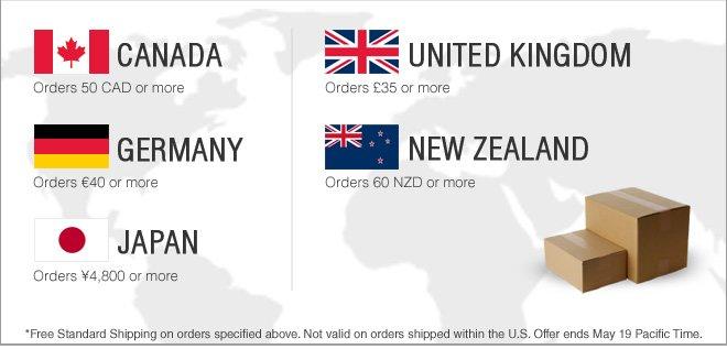 Free Shipping for Canada, United Kingdom, Germany, New Zealand & Japan
