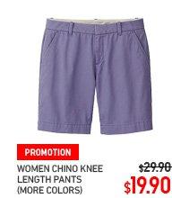 WOMEN KNEE LENGTH CHINO SHORTS