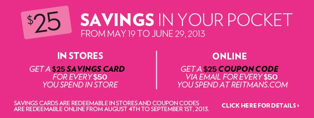 Savings in your pocket - From May 19 to June 29, 2013