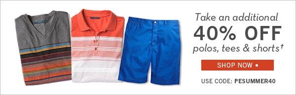 Take 40% Off Polos, Tees & Shorts