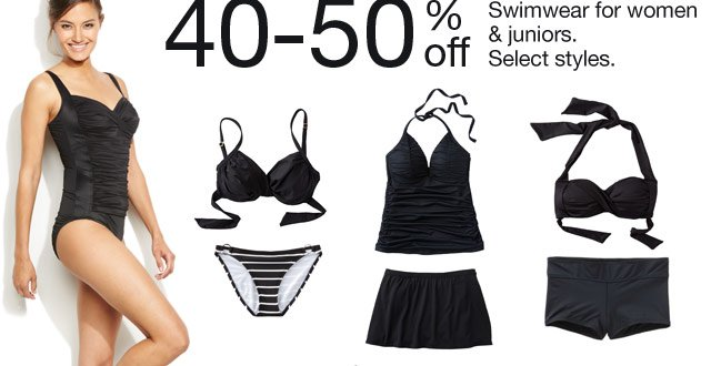 40-50% off Swimwear for women & juniors. Select styles.
