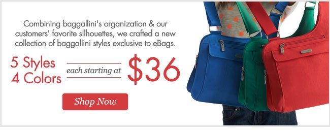 baggallini styles exclusive to eBags. Shop Now