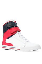 The Society Sneaker in White Raptor TUF, Red Suede, & Navy Blue Waxed Suede