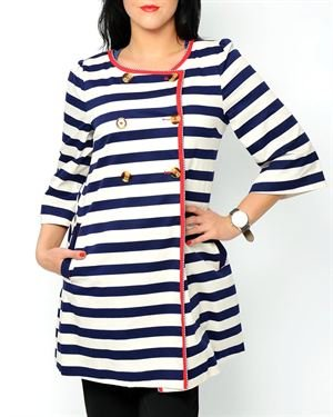 Riverside 3/4 Sleeve Nautical Coat