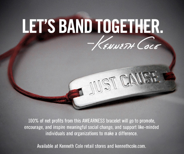 Let's Band Together. Kenneth Cole // 100% of net profits from this AWEARNESS bracelet will go to promote, encourage, and inspire meaningful social change, and support like-minded individuals and organizations to make a difference. Availaible at Kenneth Cole retail stores and kennethcole.com.