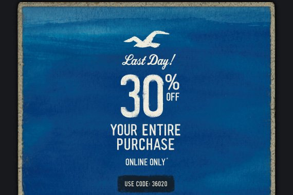 LAST DAY! 30% OFF YOUR ENTIRE PURCHASE ONLINE ONLY* USE CODE: 36020