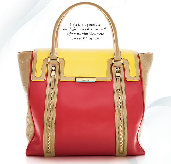 Celia tote in geranium and daffodil smooth leather with light camel trim. View more colors at Tiffany.com.