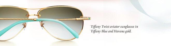 Tiffany Twist aviator sunglasses in Tiffany Blue and Havana gold.