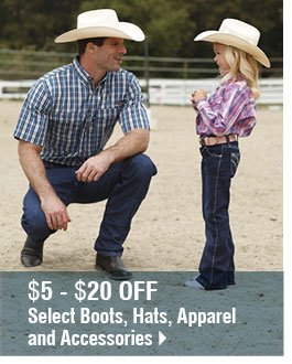 $5-$20 Off Select Boots, Hats, Apparel and Accessories