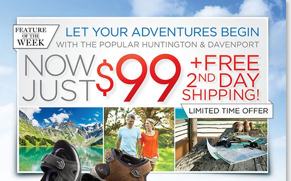 Let your adventures begin with our new Feature of the Week! Enjoy FREE 2nd Day Shipping on the ABEO B.I.O.system 'Huntington' and 'Davenport' adventure sandals for women and men featuring a revolutionary 3-D fit.* Find the best selection online and in-stores at The Walking Company.