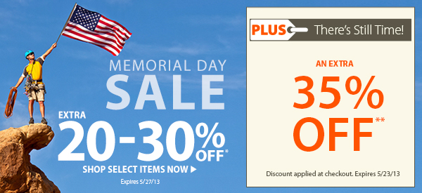 Memorial Day Sale! An Extra 20-30% OFF Select Items! PLUS There's Still Time! An Extra 35% OFF!