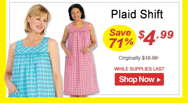 Plaid Shift - Save 71% - Now Only $4.99 Limited Time Offer