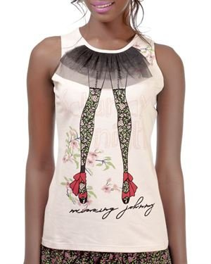 Missing Johnny Graphic Print & Sheer Lace Embellished Blouse