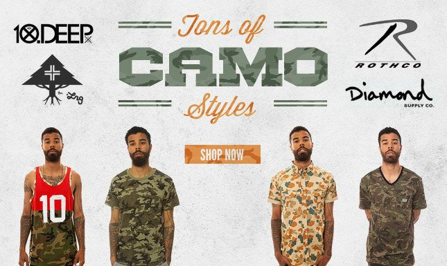 Tons of Camo Styles from Diamond Supply, Rothco, LRG Core Collection and more