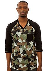 The Up Rise Y Neck Henley in Camoflage