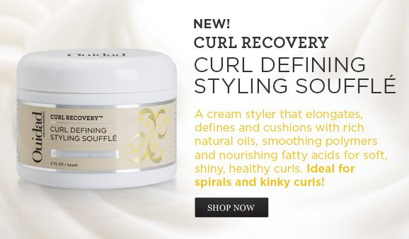 NEW! Curl Recovery CURL DEFINING STYLING Soufflé A cream styler that elongates, defines and cushions with rich natural oils, smoothing polymers and nourishing fatty acids for soft, shiny, healthy curls. Ideal for spirals and kinky curls!