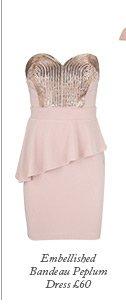 Embellished Bandeau Peplum Dress
