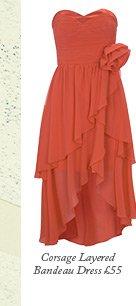 Corsage Layered Bandeau Dress