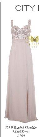 V I P Beaded Shoulder Maxi Dress