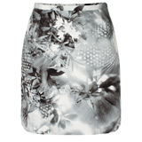 Black and White Hazy Botanical Print Mini Skirt