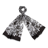Black Collage Floral Print Scarf