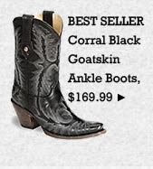 Womens Corral Black Goatskin Ankle Boots on Sale