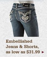 All Womens Embellished Jeans and Shorts on Sale