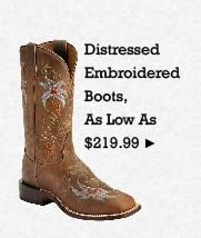 All Womens Distressed Embroidered Boots on Sale