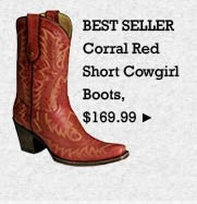 Womens Corral Red Short Cowgirl Boots on Sale