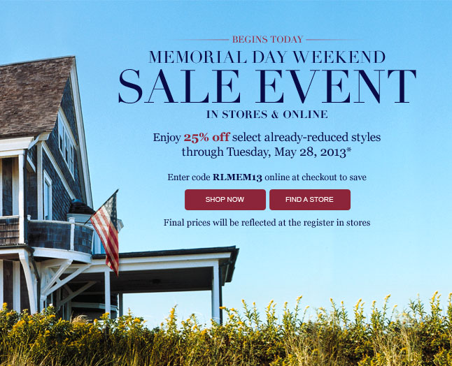 Memorial Day Weekend Sale Event