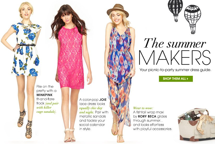 The summer MAKERS. Your picnic-to-party summer dress guide. SHOP THEM ALL