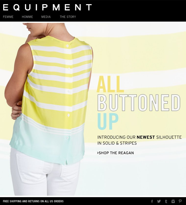 ALL BUTTONED UP INTRODUCING OUR NEWEST SILHOUETTE IN SOLID & STRIPES >SHOP THE REAGAN