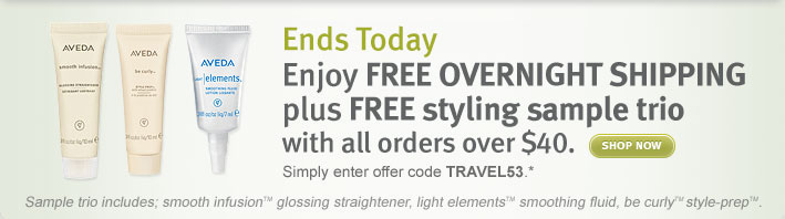 enjoy free overnight shipping plus free sample trio with all orders over $40. shop now