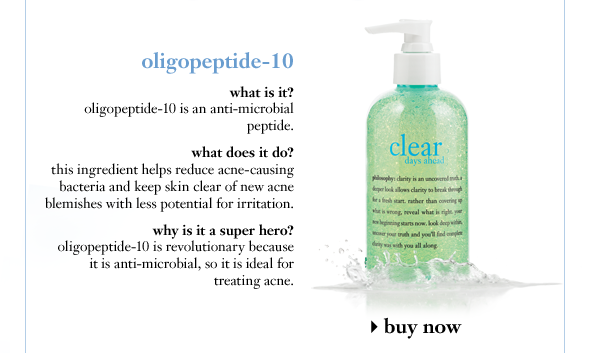 oligopeptide-10 what is it? oligopeptide-10 is an anti-microbial peptide. what does it do? this ingredient helps reduce acne-causing bacteria and keep skin clear of new acne blemishes with less potential for irritation. why is it a super hero? oligopeptide-10 is revolutionary because it is anti-microbial, so it is ideal for treating acne.