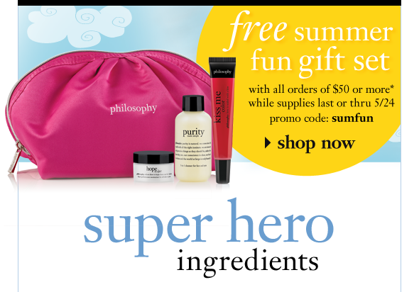 free summer fun gift set with all orders of $xx or more while supplies last or thru 5/24 promo code: sumfun