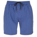 Long Blue Candy Stripe Swim Shorts