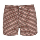 Slim-Fit Red Geometric Print Swim Shorts