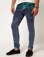 ASOS Skinny Jeans In Dip Dye Acid Wash