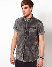 River Island Denim Shirt in Acid Wash