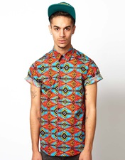 Reclaimed Vintage Shirt with Aztec Print