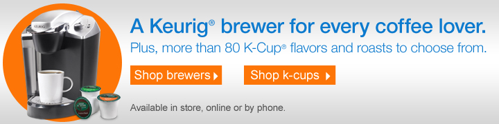 A  Keurig® brewer for every coffee lover. Plus, more than 80 K-Cup®  flavors and roasts to choose from. Show now. Available in store, online  or by phone.