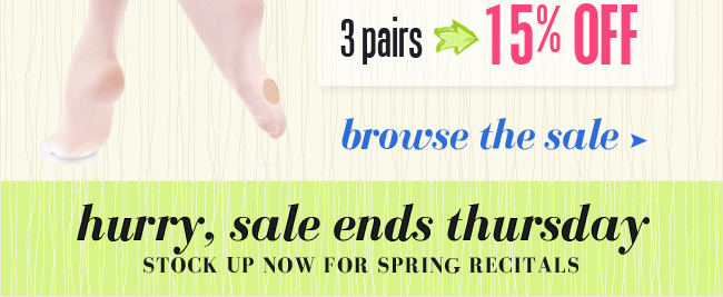 Save now on tights for spring shows.