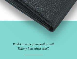 Wallet in onyx grain leather with Tiffany Blue stitch detail.
