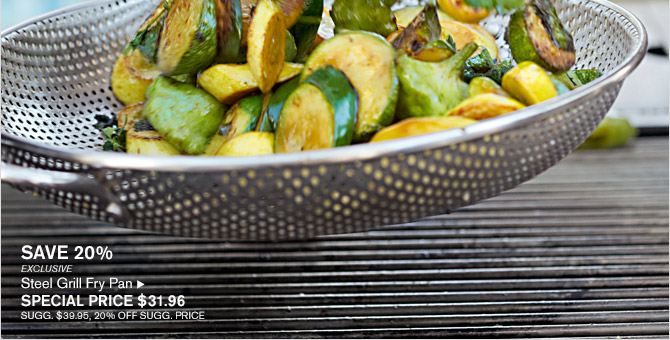 SAVE 20% -- EXCLUSIVE -- Steel Grill Fry Pan, SPECIAL PRICE $31.96 -- SUGG. $39.95, 20% OFF SUGG. PRICE