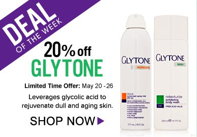 Deal of the Week: Save 20% On Glytone! Exfoliates, renews and hydrates dull and aging skin. Shop Now>>