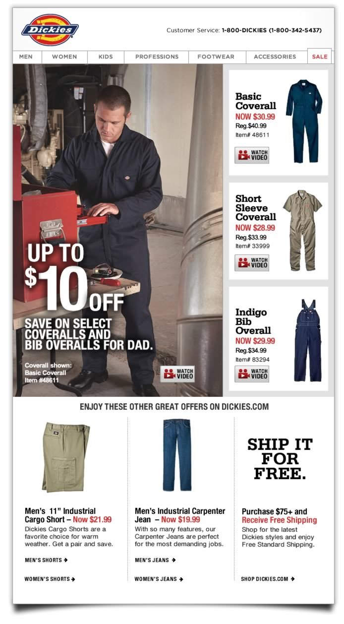Up to $10 Off Coveralls & Bibs for Dad